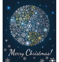 Christmas background Planet made from snowflakes vector image