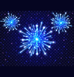 color neon fireworks in the night sky bright vector image