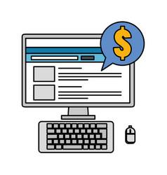 Computer desktop with speech bubble and money vector