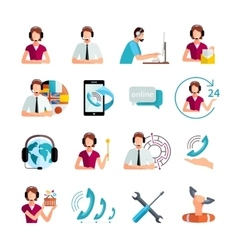 Customer Support Service Flat Icons Set vector