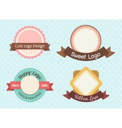 cute and sweet pastel vintage premium logo or vector image