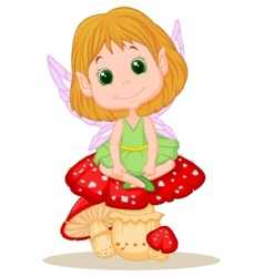 Cute fairy cartoon sitting on mushroom vector image
