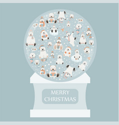 cute polar bear sticker set snow globe design vector image
