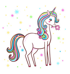 cute unicorn stands on a white background with vector image