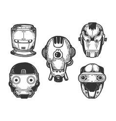Cyborg robot heads set sketch engraving vector