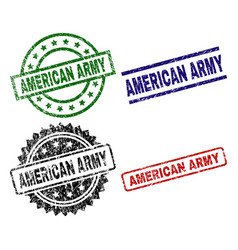 Damaged textured american army seal stamps vector
