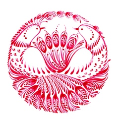 Decorative circle birds of paradise vector