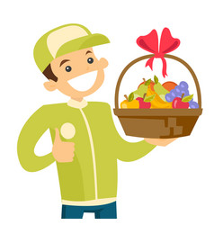 Delivery courier delivering food to customer vector