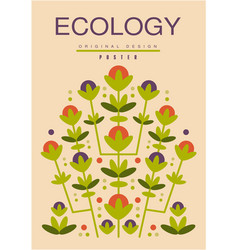 ecology card ecological template with flowers for vector image