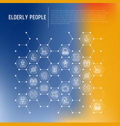 Elderly people concept in honeycombs vector