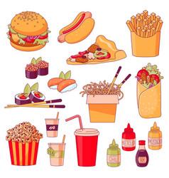 fastfood menu dishes vector image