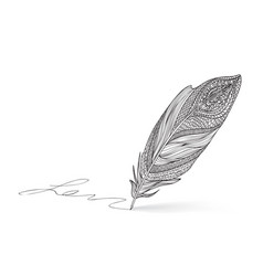 feather pen icon calligraphy sign vector image