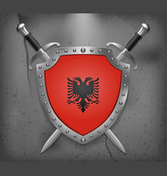 Flag of albania the shield with national flag vector