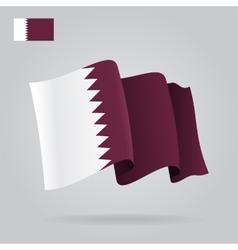 Flat and waving Qatar Flag vector