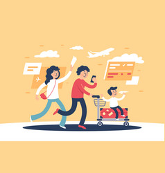 flat parent with child and travel personal items vector image