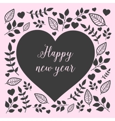 Floral heart with sign happy new year vector