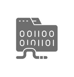 Folder virus computer worm grey icon vector