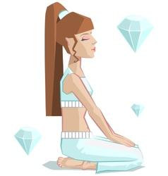 Girl yoga vajrasana vector