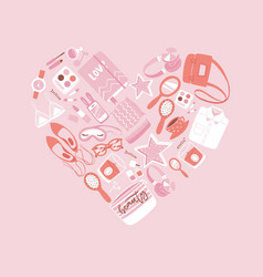 girls accessories in heart shape with makeup bags vector image