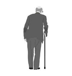grandfather senior in suit walking with stick vector image