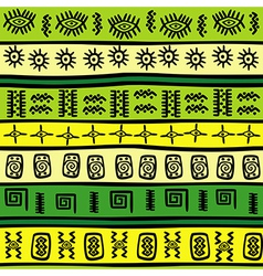 green and yellow tribal ornaments vector image