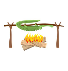 grilled crocodile meat on spit roasting alligator vector image