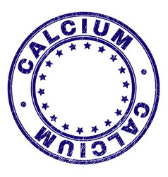 Grunge textured calcium round stamp seal vector