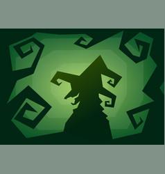 Halloween witch roughen green background vector