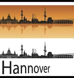 Hannover skyline in orange background vector image