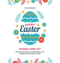 happy easter flyer template vector image