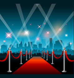Hollywood movie red carpet background and city vector