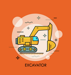 hydraulic excavator or digger heavy equipment vector image