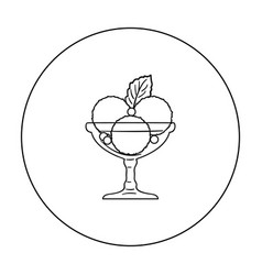 ice cream in the glass bowl icon in outline style vector image