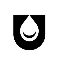 Initial letter u and water drop logo icon vector