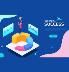 isometric financial success concept businessman vector image