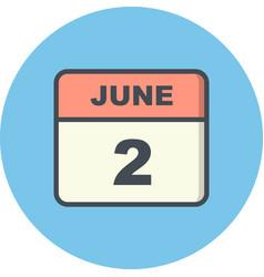 June 2nd date on a single day calendar vector