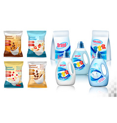 laundry detergent package design set of container vector image