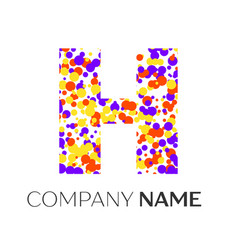 Letter h logo with purple yellow red particles vector