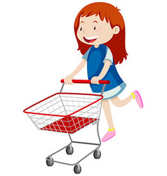 Little girl pushing shopping cart vector image
