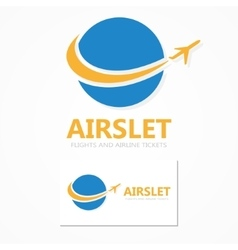 Logo combination a globe and airplane vector