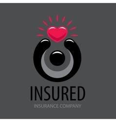 logo man holding a heart vector image vector image