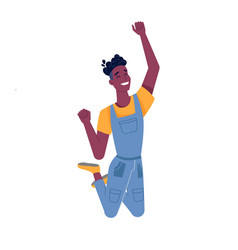 Man black boy jump happy smile dark skin african vector