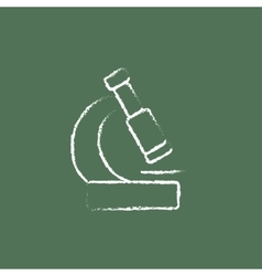 Microscope icon drawn in chalk vector image