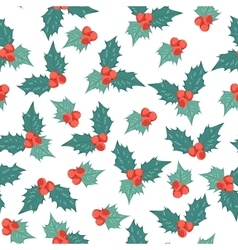 Mistletoe holly berry ilex seamless pattern blue vector image