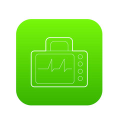 monitor with cardiogram icon green vector image