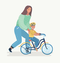 Mother teaching boy to ride the bike vector