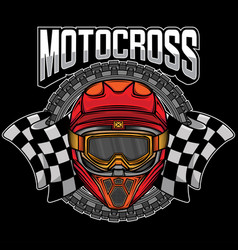 Motocross helmet graphic logo vector
