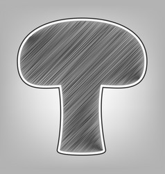 Mushroom simple sign pencil sketch vector