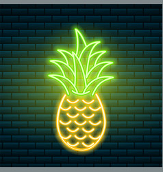 neon pineapple tropical sign summer plant vector image