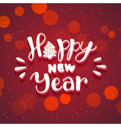 New Year hand drawn lettering on dark red vector